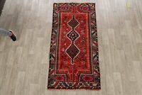 Excellent Vintage Tribal Abadeh Geometric Hand-Knotted Runner Rug 3x7 RED Carpet