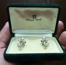 Vintage Mikimoto 4-Pearl Silver screw back Earrings Original Box Signed estate