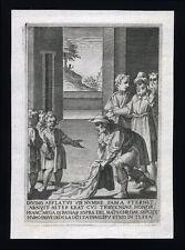 santino incisione 1594 S.FRANCESCO D'ASSISI FANCIULLO NEGA DI PASSARE SU MANTELL