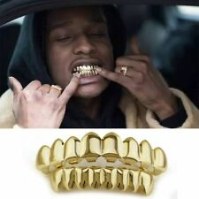 14K Gold Plated HipHop Teeth Grillz Top&Bottom Grill Set Bonus Wax*HIGH QUALITY*