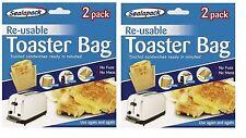 4 x Reusable Toaster Toastie Sandwich Toast Bags Pockets Toasty Non Stick