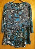 Multiples Women's medium turquoise blue gray etc.3/4 sleeve tunic dress shirt