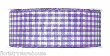 """Lilac Lavender Gingham ribbon check fabric 40mm (1.5"""") 25m roll Made in Germany"""