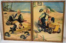"Vintage 1940 Henry Hintermeister Gillette Tires 2-Print Poster 12x16"" racing ad"