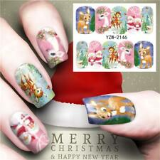 Merry Christmas Tree Nail Sticker Water Decals Nail Glitter Flower Cat Butterfly