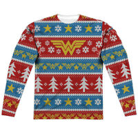 Wonder Woman DC Comics Ugly Christmas Sweater Sublimation Long Sleeve Shirt