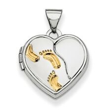 .925 Sterling Silver with Gold-plating Heart Foot Prints Locket Charm Pendant