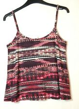 PINK BLACK WHITE LADIES CASUAL STRETCH TOP BLOUSE CAMI SIZE 10 NEW LOOK GEOMETRI