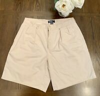 POLO RALPH LAUREN Mens Tyler Short Pleated Beige Chino Shorts TAG 36