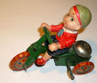 ( WORKS)Vintage Wind Up Boy On Tricycle Litho Tin & Celluloid Toy, Made in Japan