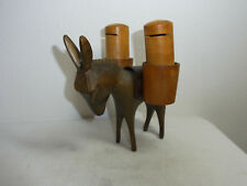 Mid Century 60s Carved Wood Salt and Pepper Donkey #O