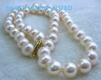 "new 18"" AAA 10-9 MM  SOUTH SEA NATURAL white PEARL NECKLACE 14K CLASP"