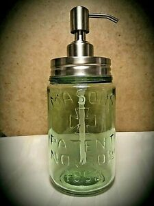 MASONS PATENT 1858 STAINLESS STEEL Soap & Lotion Dispenser Pump Apple Green
