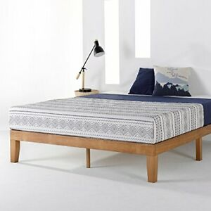 Mellow Naturalista Classic - 12 Inch Solid Wood Platform Bed with Wooden Slats,