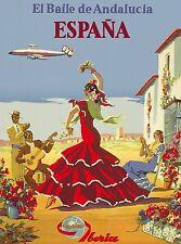 Espana Spain Spanish El Baile de Adalucia Vintage Travel Advertisement Poster