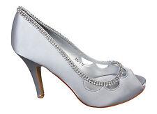 Satén Zapatos de Novia Fiesta Peep Toe Con Piedrecita Plata MU-5 Extra Precio