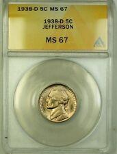 1938-D Jefferson Nickel 5c Coin ANACS MS-67 Gem BU