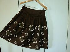 jigsaw brown linen embroidered applique skirt 12