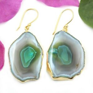 Natural Milky Green Agate Geode Druzy Slice Gold Electroplated Halloween Earring