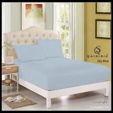 Draps-housses bleue pour le lit en 100% coton, 200 cm x 200 cm