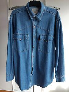 Levis Mens Vintage Orange Tag Snap Button Blue Denim Western Shirt Size S