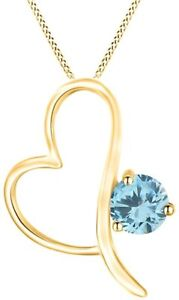 Simulated Aquamarine Solitaire Open Heart Pendant Necklace 14K Gold Over Silver
