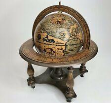 Vintage 1960's Old World, Zodiac Wooden Globe Walnut Stand Tabletop / Desk Decor
