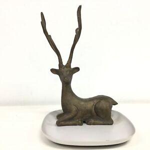 Square Metal Trinket Plate With Metal Deer Ornament #402