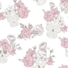 PINK GLITTER FLOWER FUNKY SKULLS QUALITY FEATURE DESIGNER WALLPAPER DEBONA 8995