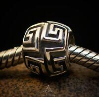 Genuine SOLID 925 Sterling Silver charm bead celtic greek fits bracelet AUM SS