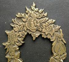 RARE PLAQUE EN BRONZE DECOR DE FLEURS 95 MM - AMEUBLEMENT 1900 AUTRICHE  A VOIR