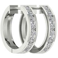 Hoop Huggie Earrings SI1G Round Diamond 1.01 Ct 14K White Gold Channel Set