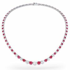 Ruby and Diamond set in 18K White Gold Over 925 Silver Tennis Necklace 18''