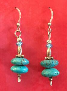 "Sterling Silver Earrings Turquoise Bead Southwest Handmade 1.75"" 5g 925 #1716"