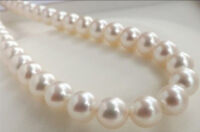 """9-10MM PERFECT WHITE NATURAL ROUND SOUTH SEA PEARL LOOSE BEADS 15"""" AAA STRAND"""