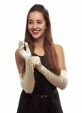 Glamorous Gala Satin Opera Length Gloves with Pearlized Buttons, Ivory