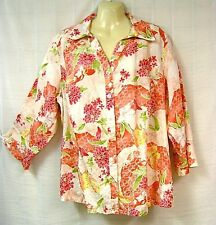 Linen Top 1X 18W Floral Stencil Cuffs Blouse Shirt Button - BUY 3 For FREE Ship
