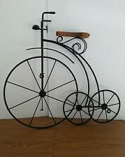 Vintage Wrought Iron Metal & Wood Decorative Wall Mount Bicycle
