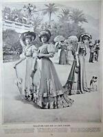 PHOTOGRAVURE 1907 TOILETTES VUES SUR LA COTE D'AZUR CRÊPE DE CHINE REDINGOTE