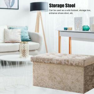 Velvet Ottoman Large Storage Box Seat Bedroom Folding Footstool Storage Bench