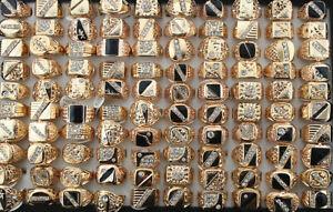 Wholesale Lots 40pcs Mixed Clear Rhinestone Men's Black Enamel Rose Gold P Rings