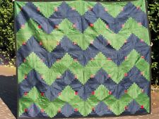 "Américain Amish Quilt 210x185 cm ""log cabin Streak of Lightning"" de 1925"