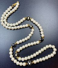 "Vintage Necklace 32"" Lucite Faux Pearls Gold Tone Black Resin Crystal Rhinestone"