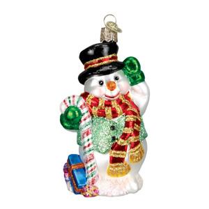 Old World Christmas CANDY CANE SNOWMAN (24068)N Glass Ornament w/ OWC Box