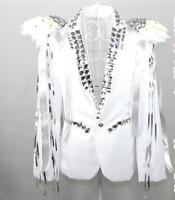 Men White Dance Stage Coat Rhinestones Feather Singer DJ Jacket Nightclub New