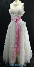 VTG FLIRTATIONS Gown Alfred Angelo Victorian Wedding Dress tiered Lace S M NEW