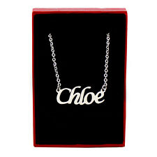 Chloe nombre de tono Plata Collar | Personalizado Personalizado Regalos Día De San Valentín