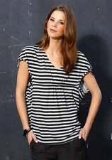 Kurzarm Shirt - Gr. 40/42 - schwarz-grau gestreift - Vero Moda - Bluse Longshirt
