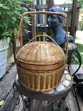 Antique Chinese Hand Made Box Bride's Basket Handle Lid - free ship