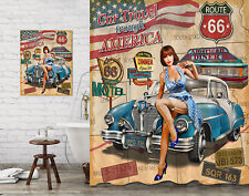 Bathroom Decor Shower Curtain & Painting Beauty Girl Route 66 Retro Car Design